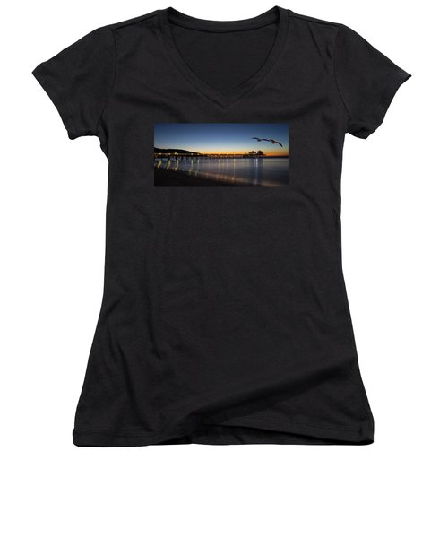 Malibu Pier At Sunrise Women's V-Neck (Athletic Fit)