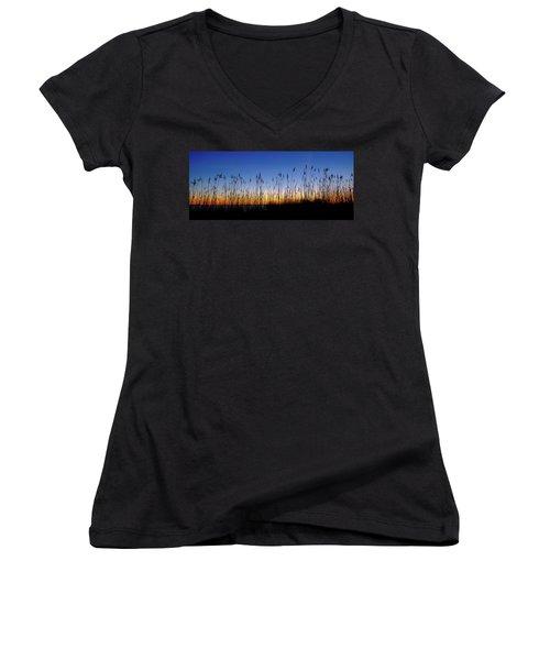 Marsh Grass Silhouette  Women's V-Neck