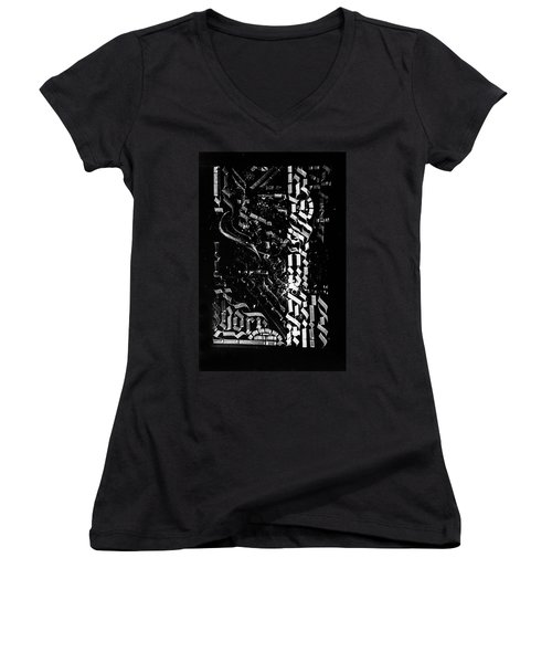 Matrix. Calligraphic Abstract Women's V-Neck (Athletic Fit)