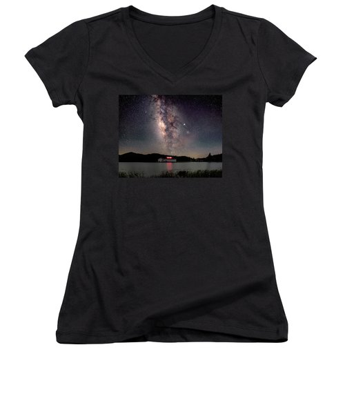 Milky Way Over The Tianping Mountain Lake Temple Women's V-Neck