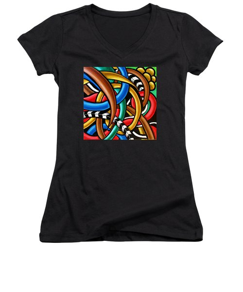 Colorful Abstract Art Painting Chromatic Intuitive Energy Art - Ai P. Nilson Women's V-Neck
