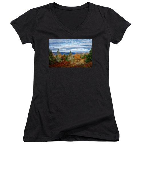 Mooselookmeguntic Lake Fall Colors Women's V-Neck