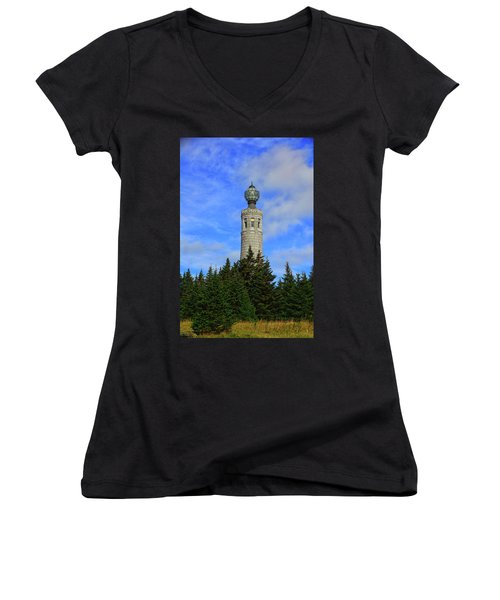 Women's V-Neck (Athletic Fit) featuring the photograph Mount Greylock Tower From Bascom Lodge by Raymond Salani III