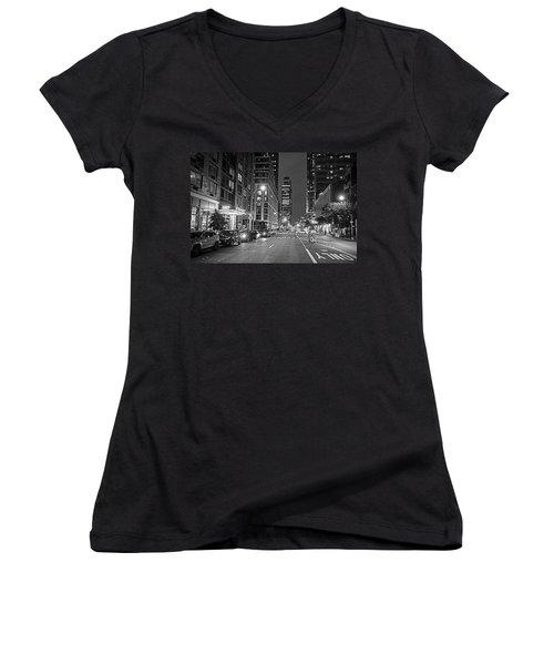 New York City Gotham West Market New York Ny Black And White Women's V-Neck