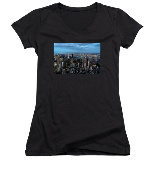 New York Skyline Women's V-Neck (Athletic Fit)