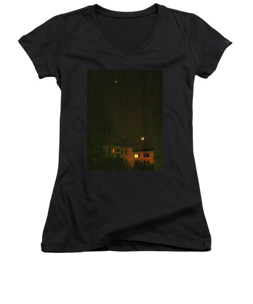 Women's V-Neck featuring the photograph Night Lights by Attila Meszlenyi