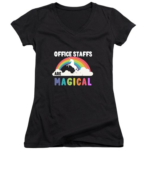 Women's V-Neck featuring the digital art Office Staffs Are Magical by Flippin Sweet Gear