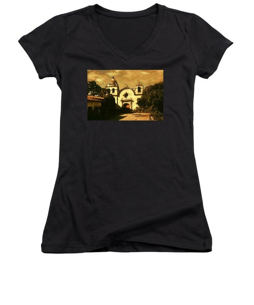 Old Carmel Mission - Watercolor Painting Women's V-Neck
