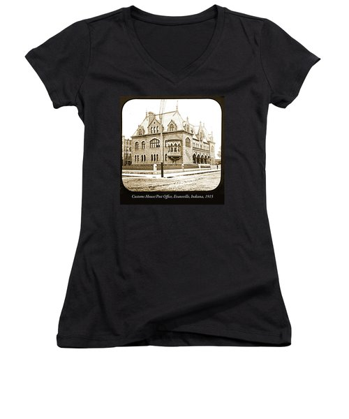 Old Customs House And Post Office, Evansville, Indiana, 1915 Women's V-Neck