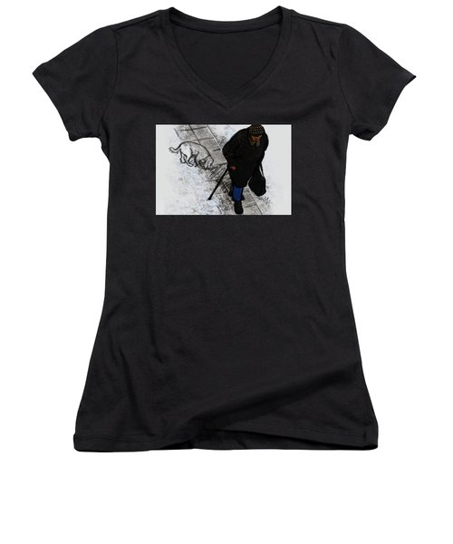 Women's V-Neck featuring the digital art Old Lady With A Dog by Attila Meszlenyi