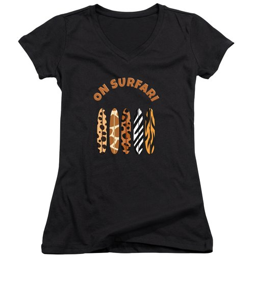 On Surfari Animal Print Surfboards  Women's V-Neck