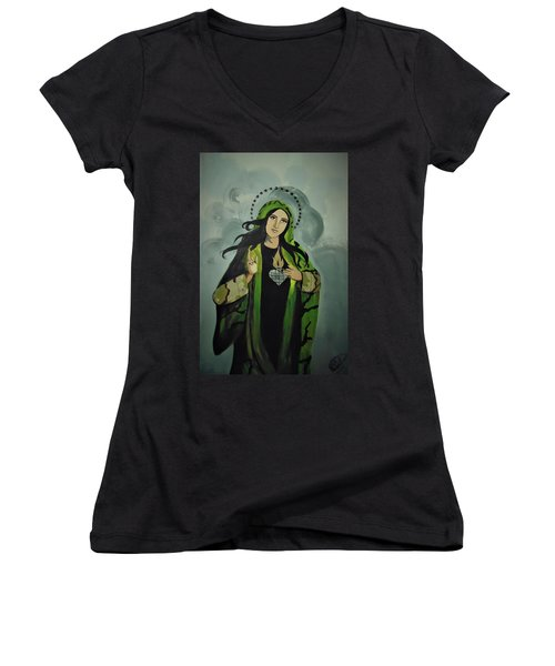 Women's V-Neck featuring the painting Our Lady Of Veteran Suicide by MB Dallocchio