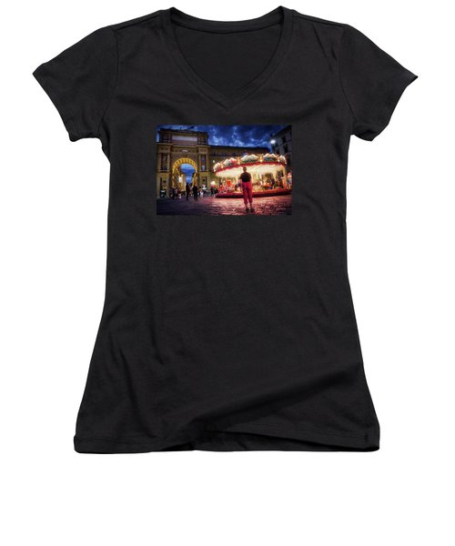 Women's V-Neck featuring the digital art Piazza Della Reppublica At Night In Firenze With Painterly Effects by Eduardo Jose Accorinti