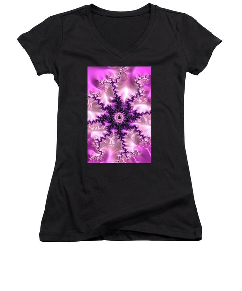Women's V-Neck featuring the digital art Pink And Purple Abstract Fractal by Matthias Hauser