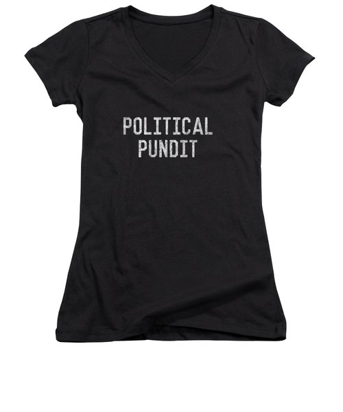 Women's V-Neck featuring the digital art Political Pundit Vintage by Flippin Sweet Gear