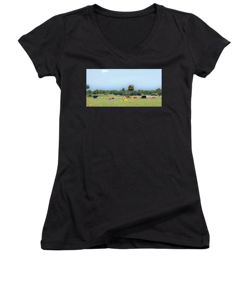 Psychedelic Cows Women's V-Neck