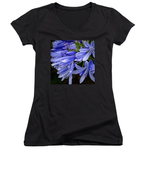 Rain Drops On Blue Flower II Women's V-Neck