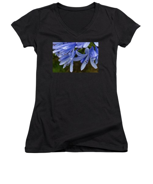 Rain Drops On Blue Flower Women's V-Neck