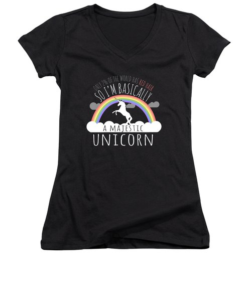 Red Hair Majestic Unicorn Funny Redhead Women's V-Neck