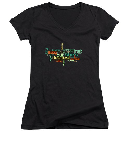 Rod Stewart - First Cut Is The Deepest Lyrical Cloud Women's V-Neck