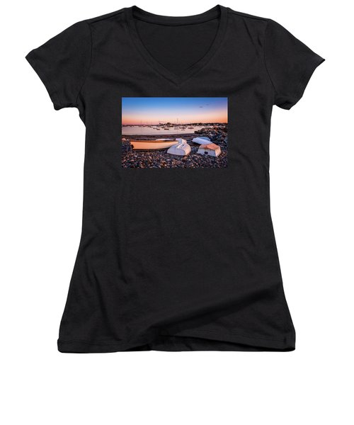 Rowboats At Rye Harbor, Sunset Women's V-Neck