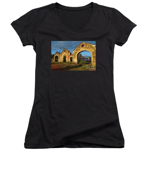 Ruins Of The Abandoned Mine Of Sao Domingos. Portugal Women's V-Neck