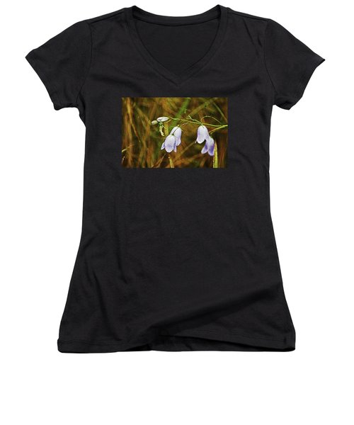 Scotland. Loch Rannoch. Harebells In The Grass. Women's V-Neck