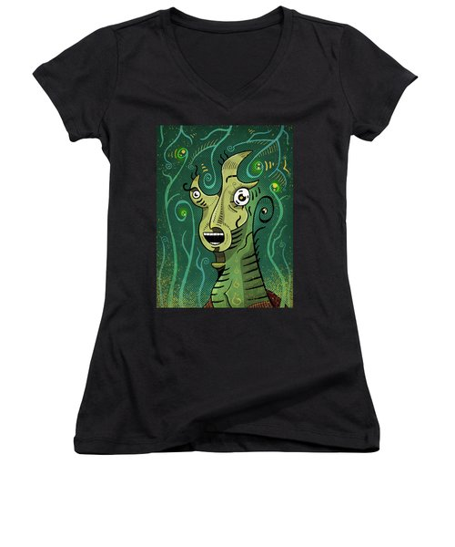 Women's V-Neck featuring the digital art Scream by Sotuland Art