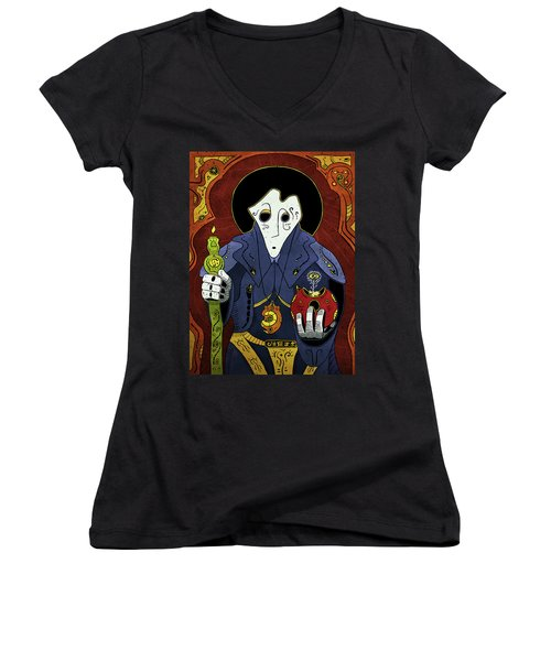 Women's V-Neck featuring the painting Shadow Priest by Sotuland Art