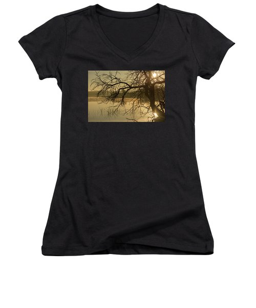 Silhouette Of A Tree By The River At Sunrise Women's V-Neck