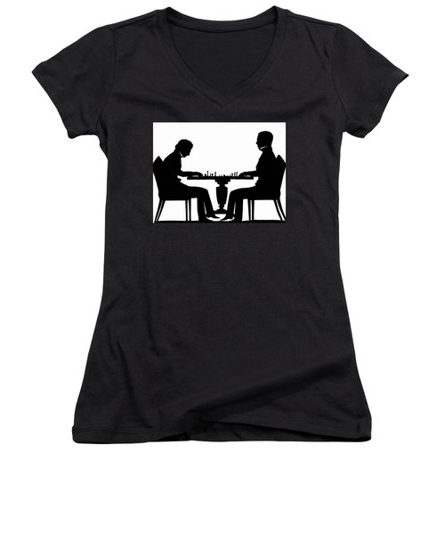 Silhouette Of Chess Players, Around 1845 Women's V-Neck