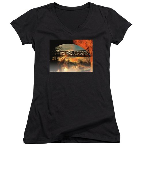 Women's V-Neck featuring the photograph Silhouettes And Shadows by Leigh Kemp