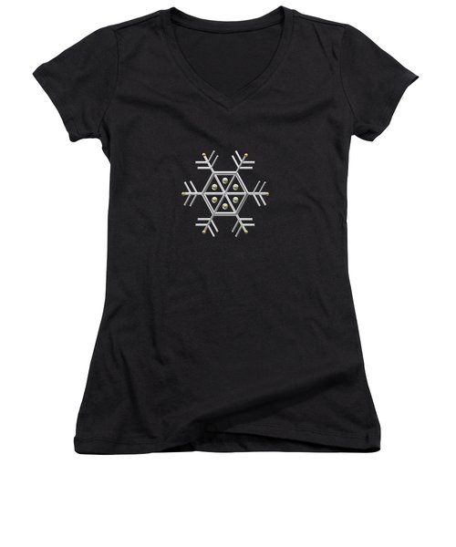 Silver And Gold Snowflake 2 At Midnight Women's V-Neck