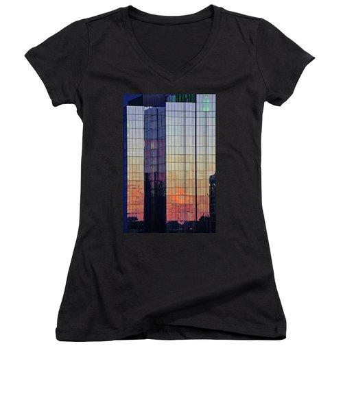 Skyscraper Sunset Women's V-Neck
