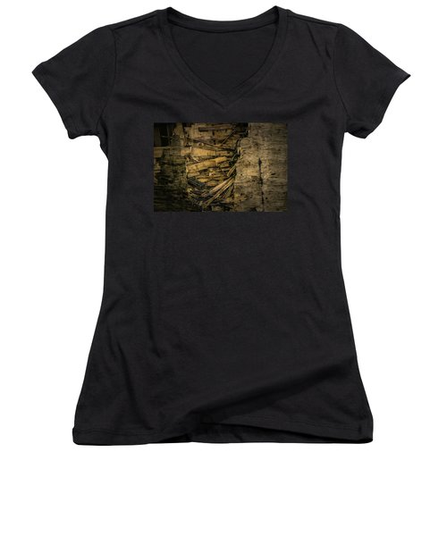 Smashed Wooden Wall Women's V-Neck