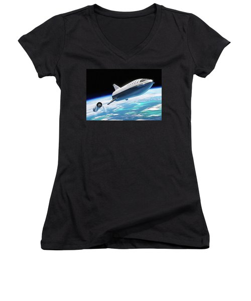 Women's V-Neck featuring the digital art Spacex Bfr Big Falcon Rocket With Earth by Pic by SpaceX Edit by M Hauser