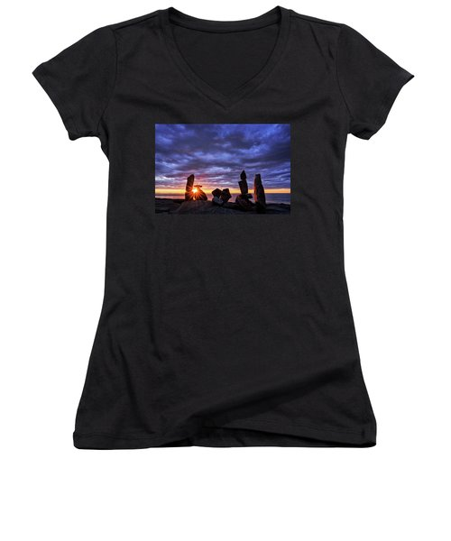 Women's V-Neck featuring the photograph Standing Stone 1 Halibut Pt.  by Michael Hubley
