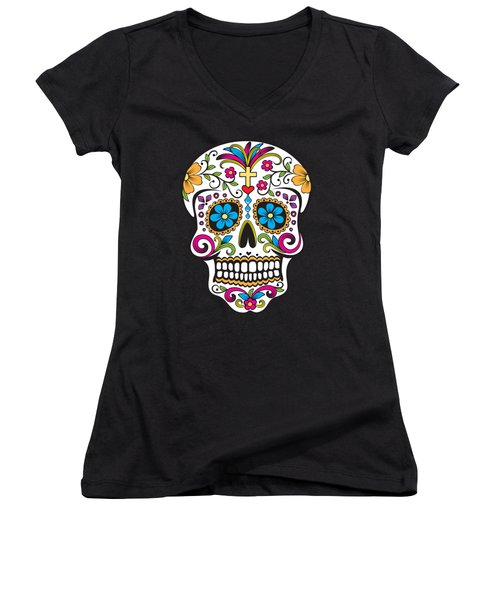 Women's V-Neck featuring the digital art Sugar Skull Day Of The Dead by Flippin Sweet Gear