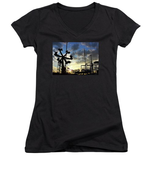 Sunset On Coney Island Women's V-Neck