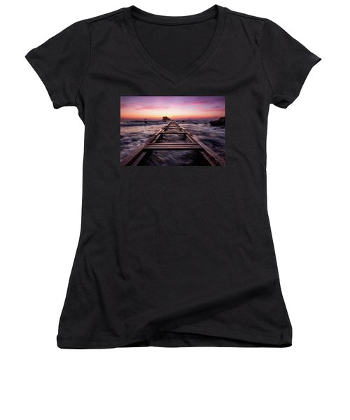Sunset Shining Over A Wooden Pier In Livorno, Tuscany Women's V-Neck