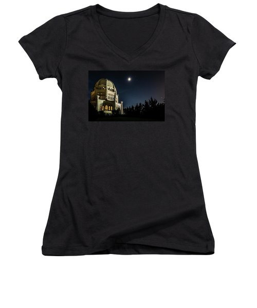 The Bahais Temple On A Starry Night Women's V-Neck