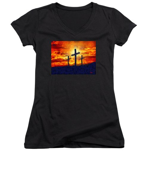Women's V-Neck featuring the painting The Cross by Harry Warrick