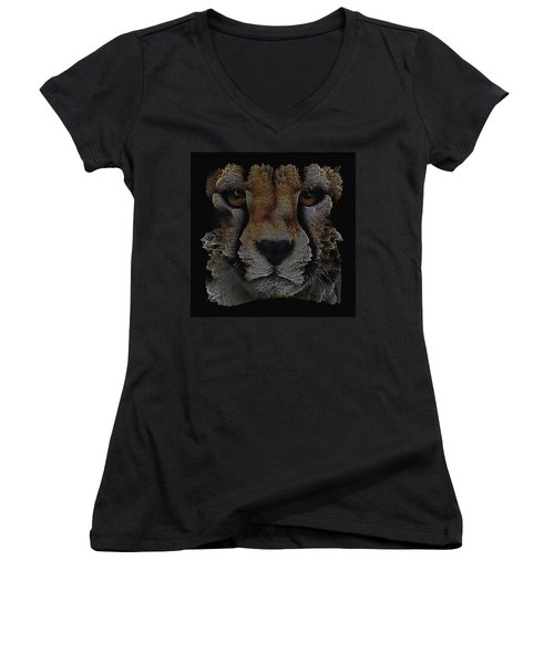 The Face Of A Cheetah Women's V-Neck (Athletic Fit)