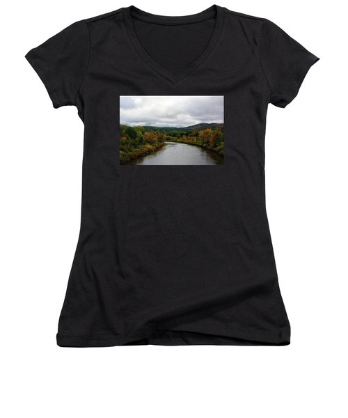 Women's V-Neck (Athletic Fit) featuring the photograph The Housatonic River From A Bridge In Adams Ma by Raymond Salani III