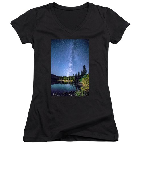 The Milky Way Over Echo Lake Women's V-Neck
