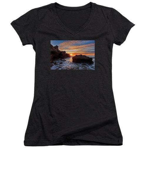 The Sea In Oropesa At Sunrise On The Orange Blossom Coast Women's V-Neck