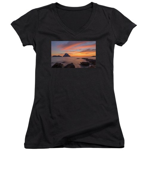 The Sunset On The Island Of Es Vedra, Ibiza Women's V-Neck