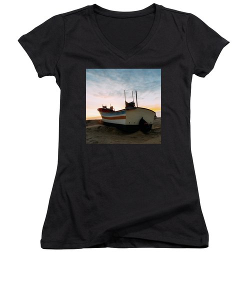 Traditional Wooden Fishing Boat Women's V-Neck