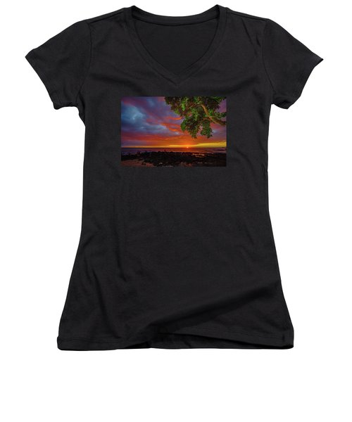 Tree  Sea And Sun Women's V-Neck