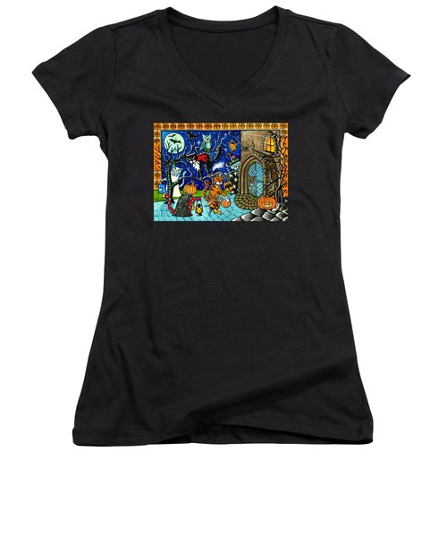 Trick Or Treat Halloween Cats Women's V-Neck